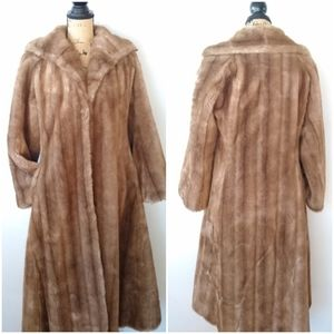 Vintage Made in England blonde fur trench coat
